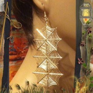 Jewelry - Last One! Spider Web Earrings Gold Color
